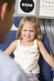 Optometrist in exam room with young girl Stock Image