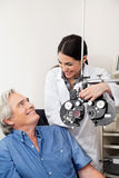 Optometrist And Patient Before Eye Checkup Stock Photo