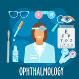 Optometrist profession and eye examination symbol Stock Photo