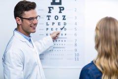 Optometrist taking eye test of female patient Stock Image