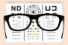 Optometrist vision test and eyeglasses Stock Photos