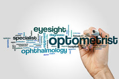 Optometrist word cloud. Concept on grey background stock photo
