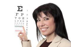Optometrista con il diagramma di occhio Immagine Stock