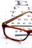 Optometry concept. Close up at eye chart Royalty Free Stock Photo
