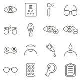 Optometry- eller för ögonexamen symboler gör linjen vektorillustrationuppsättning tunnare vektor illustrationer
