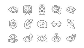 Optometry linje symboler f?r ?gondoktor Medicinsk laser-?gonkirurgi, exponeringsglas och eyedropper Linj?r upps?ttning vektor royaltyfri illustrationer