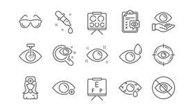 Optometry linje symboler f?r ?gondoktor Medicinsk laser-?gonkirurgi, exponeringsglas och eyedropper Linj?r upps?ttning vektor stock illustrationer