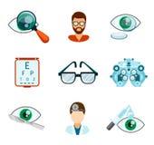 Optometry och optiska symboler sänker uppsättningen stock illustrationer