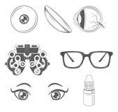 optometry Oftalmologisymbolsuppsättning Ögonläkareglasögon, e stock illustrationer
