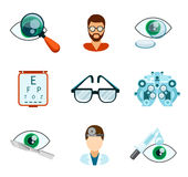 Optometry and optical icons flat set Stock Images