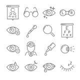 Optometry synar hälsa och ögonläkarehjälpmedel Kirurgi för läkarundersökninglaser-öga, eyedropper, ögonglob, ögon- linser eller e stock illustrationer