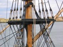Optuigen van Oud Varend Schip stock foto's
