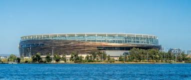 Optus-Stadionsansicht vom Schwanfluß, Perth WA lizenzfreies stockfoto