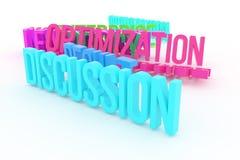 Optymalizacja, dyskusja, biznesowi konceptualni kolorowi 3D odpłacający się słowa Digital, tytuł, sieć & abecadło, ilustracja wektor