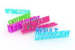 Optymalizacja, dyskusja, biznesowi konceptualni kolorowi 3D odpłacający się słowa Typografia, projekt, tapeta & pozytyw, royalty ilustracja