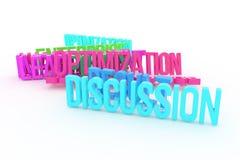 Optymalizacja, dyskusja, biznesowi konceptualni kolorowi 3D odpłacający się słowa Tytuł, projekt, typografia & grafika, ilustracja wektor