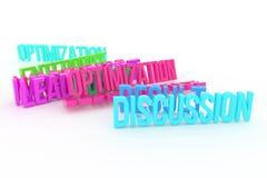 Optymalizacja, dyskusja, biznesowi konceptualni kolorowi 3D odpłacający się słowa Wiadomość, komunikacja, twórczość & tytuł, royalty ilustracja