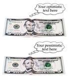 Optymistycznie lub pesymistyczny 5 dolarów set Obrazy Stock