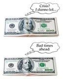 Optymistycznie lub pesymistyczny 100 dolarów set Obraz Stock
