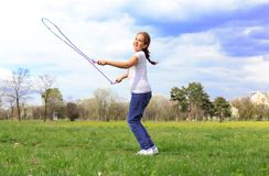 opuść linę dziewczyny izolacji white Zdjęcie Stock