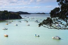 Opua, Bay of Islands, New Zealand. Boats on the water stock photos