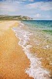 Opukreserve Sandy Seashore Overzees landschap, de Krim stock foto's