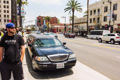 Opulent lifestyle in Hollywood. Los Angeles, CA, USA - 27th may 2013: Limousine parked on the Hollywood boulevard during the day Stock Photo