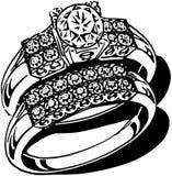 Opulent Wedding Ring Set Stock Photo