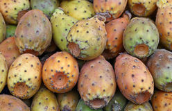 Opuntia cactus fruits sale on retail market stall Stock Image