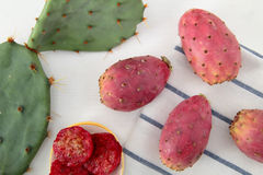 Opuntia ficus india on the white table Royalty Free Stock Photos