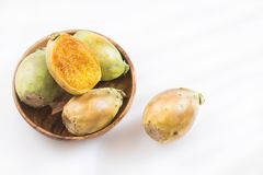 Opuntia ficus-Indica με τα φρούτα τραχιών αχλαδιών Στοκ Φωτογραφία