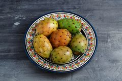 Opuntia ficus-indica, Barbary fig, cactus pear, spineless cactus, prickly pear, Indian fig opuntia on a plate for Stock Photos