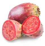 Opuntia fruit or prickly pear fruit on white background. Close-u stock photo