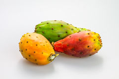 Opuntia, indian fig fruit on white background Royalty Free Stock Photos