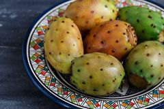 Opuntia or prickly pear on a plate, close view Stock Image
