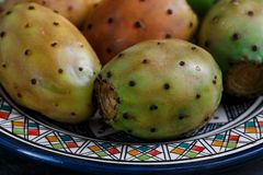 Opuntia or prickly pear on a plate, close view Stock Photography