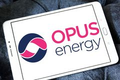 Opus Energy Limited logo. Logo of Opus Energy Limited on samsung tablet . Opus Energy supplies gas and electricity to businesses across the United Kingdom. It stock photo