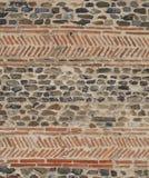 Opus spicatum. Savennieres Xth century church, bricks in an herringbone pattern stock photography