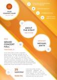 Opuscoli dei grafici dell'attività modello, alette di filatoio e stampe, progettazione variopinta arancio di vettore Fotografia Stock