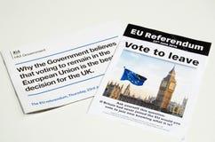Opuscoli del referendum di UE Fotografia Stock