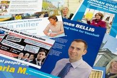 Opuscoli di campagna del partito conservatore Immagini Stock Libere da Diritti