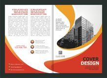 Opuscolo, aletta di filatoio, progettazione del modello con colore arancio e giallo royalty illustrazione gratis
