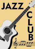 Opuscolo del club di jazz con il disegno monocromatico della chitarra e notazione nel retro stile Chiave tripla, doga e note sull illustrazione di stock