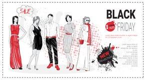 Opuscolo del modello di vendita di Black Friday con i modelli di moda e lo spazio disegnati a mano della copia, nuova raccolta de Fotografia Stock