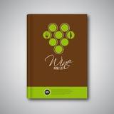 Opuscolo della copertura del modello di progettazione del menu del vino, carta Immagini Stock