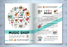 Opuscolo di musica, linea moderna stile di arte, copertura delle icone del modello Fotografia Stock