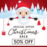 Opuscolo di vendita di Natale, sconto fino a 50 per cento Immagini Stock