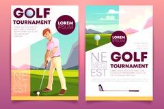 Opuscolo di vettore, libretto del torneo di golf, opuscolo illustrazione vettoriale