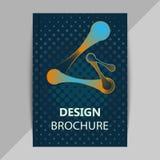 Opuscolo, modelli di progettazione del manifesto nello stile della molecola del DNA illustrazione di stock