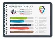 Opuscolo o libro o blocco note orizzontale con il modello infographic di affari delle molle Modello per il fondo di presentazione Fotografia Stock
